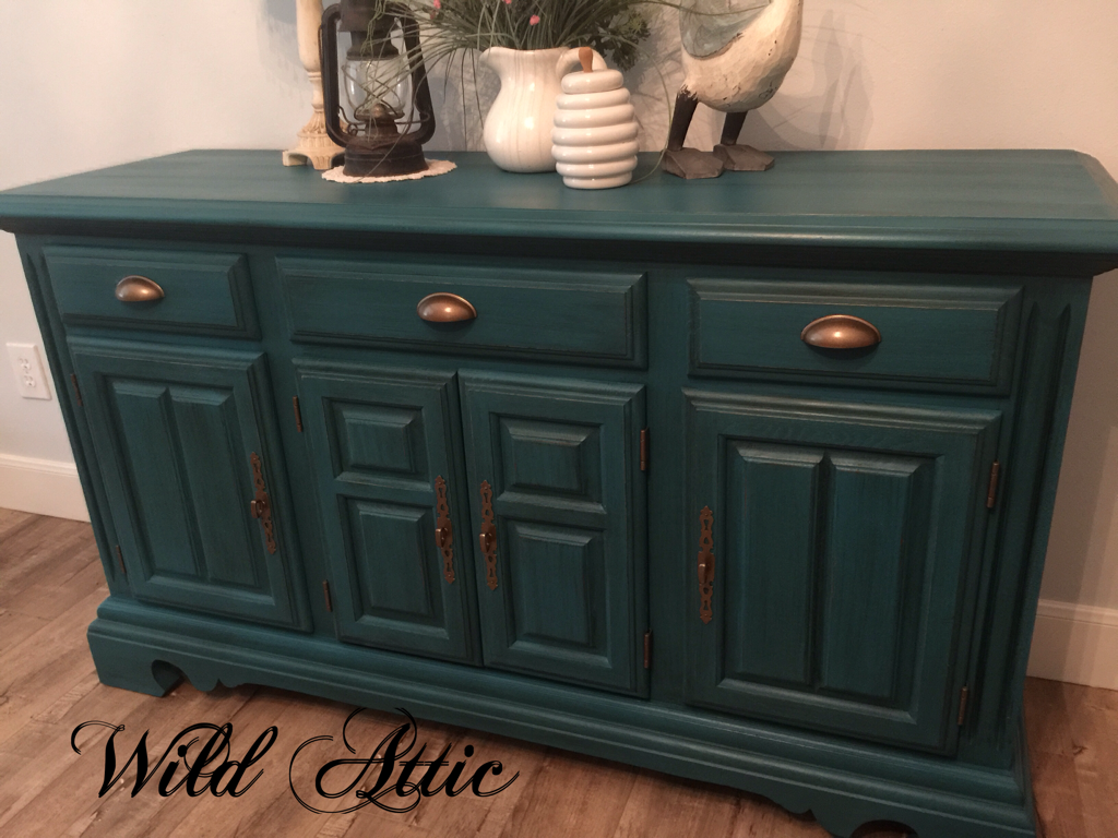 Dark Teal Solid Oak Buffet Sideboard Made By Cochrane