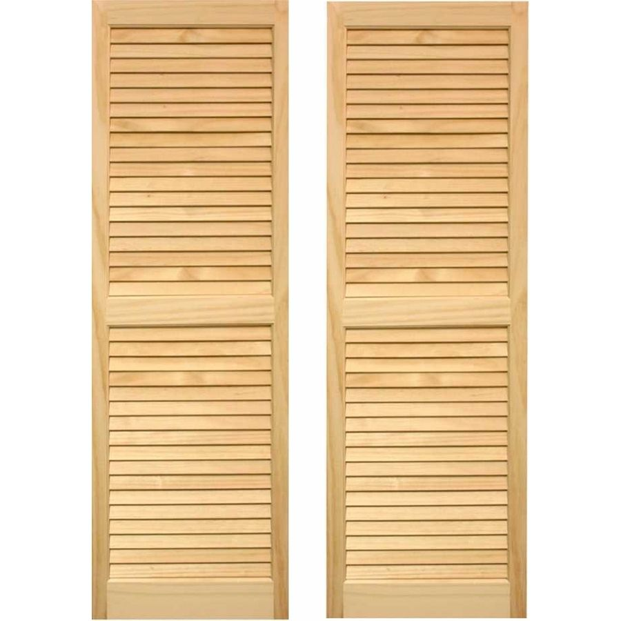 Pinecroft 2 Pack Unfinished Louvered Wood Exterior Shutters Common 15 In X 59 In Actual 15 In X 59 In Shutters Exterior