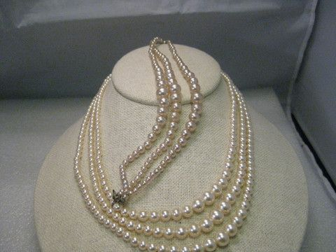 Vintage Triple Strand Pearls Necklace Bracelet Cezanne By