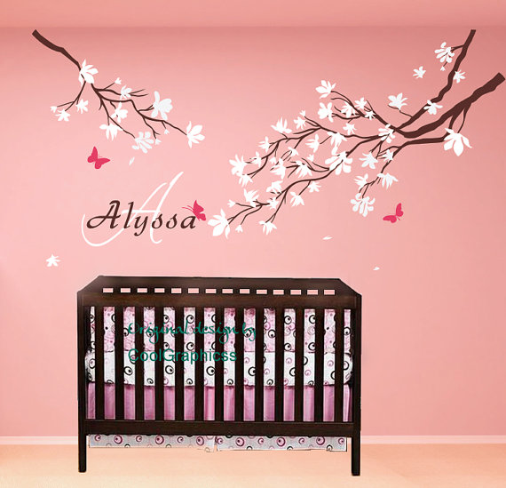 flower wall decal baby name decal vinyl wall decals wall mural nursery branch wall decal cherry blossom branches with baby name