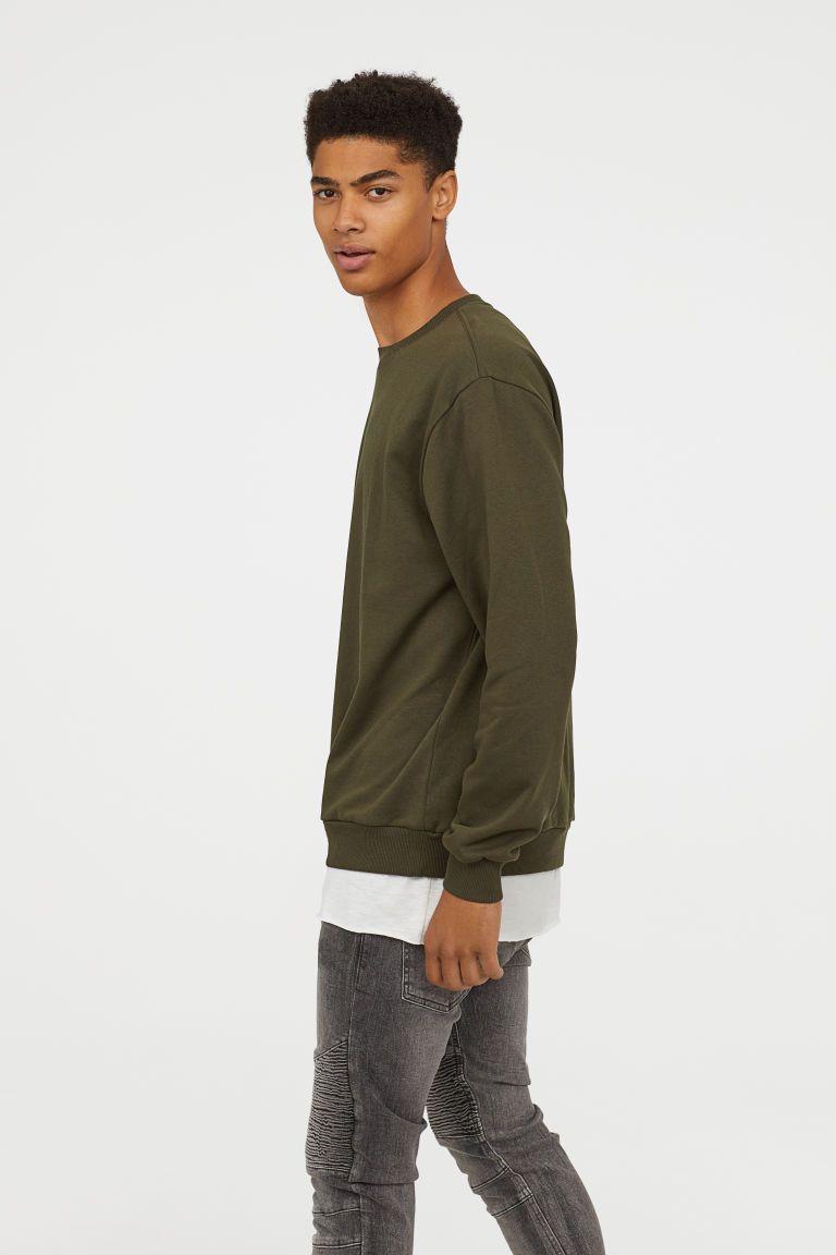 Oversized Sweatshirt Dark Khaki Green Men H M Us Oversized Sweatshirt Long Sleeve Tshirt Men Workout Sweatshirt [ 1152 x 768 Pixel ]