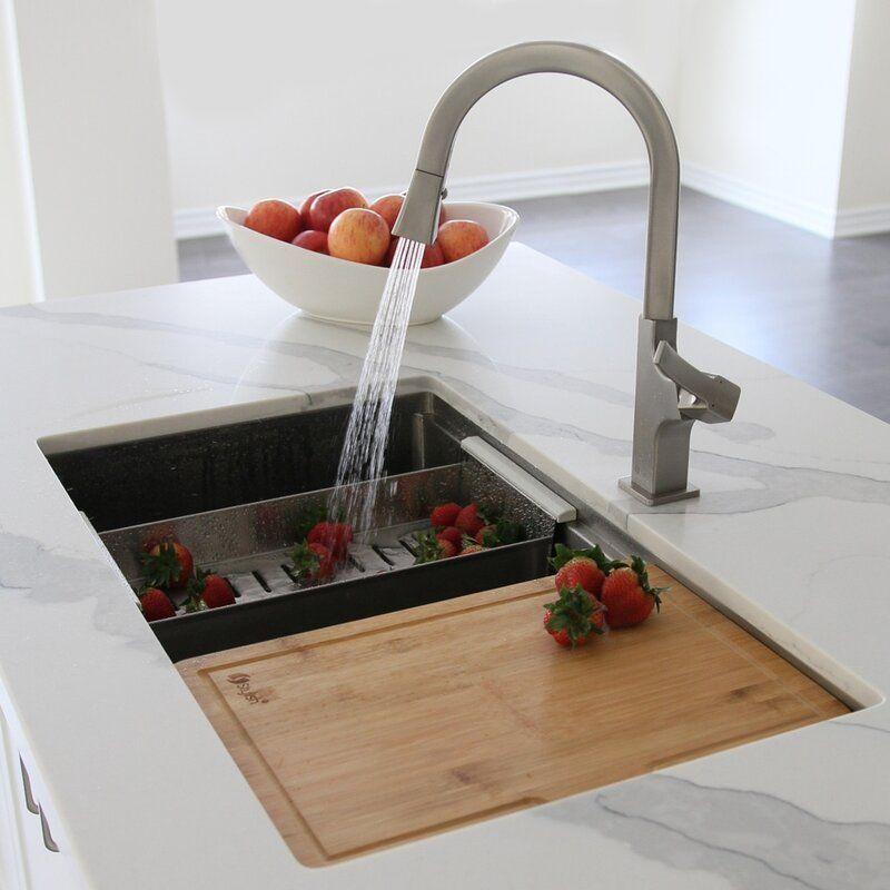 Workstation 32 L X 19 W Double Basin Undermount Kitchen Sink With Accessories Undermount Kitchen Sinks Ledge Kitchen Sinks Kitchen Sink Double sink for 30 inch cabinet