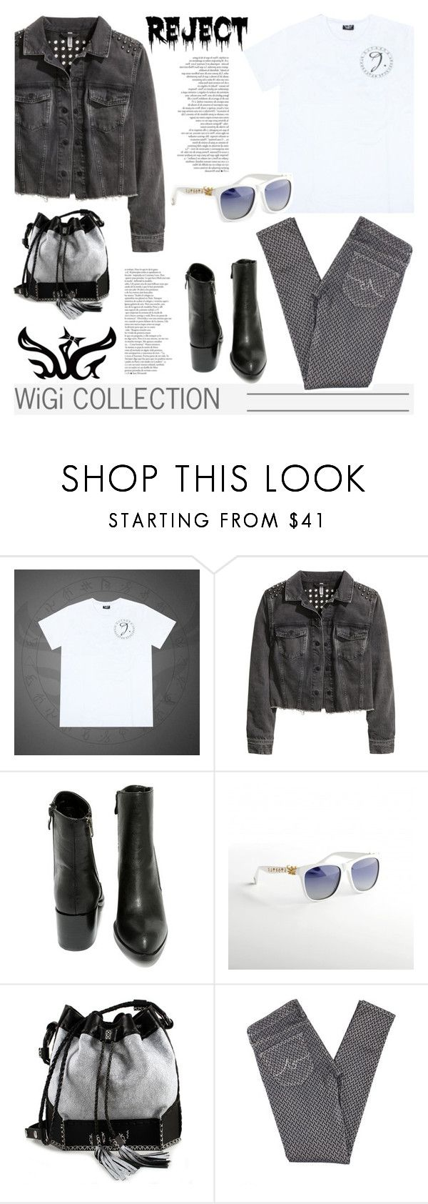 """WiGi J Series Luxury T-shirt"" by wigicollection ❤ liked on Polyvore featuring H&M, Very Volatile, Carianne Moore, AG Adriano Goldschmied, glasses, whitetshirt, wigicollection and explorecollection"