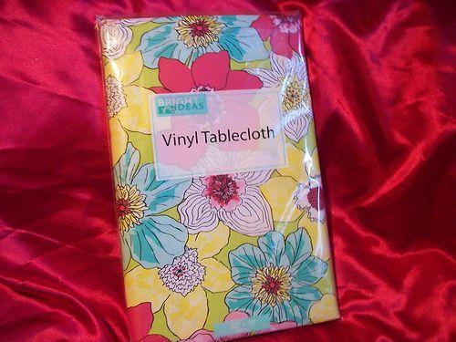 Bright Ideas Bright Colored Floral Vinyl Oblong Tablecloth Indoor/outdoor  Nip
