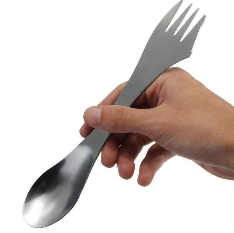Travel Outdoor Gadget Spork Spoon Fork Combo Stainless Steel Cutlery Utensil