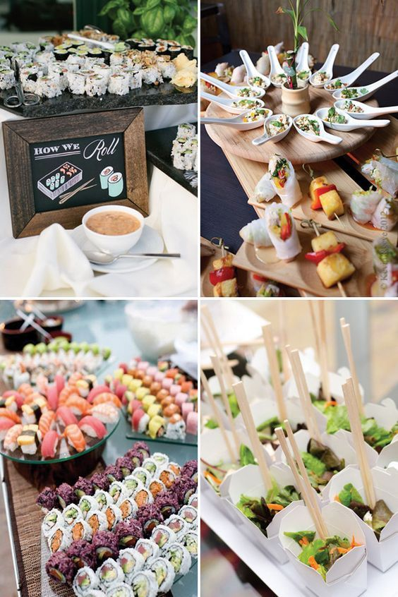 Asian Stations And Sushi Bar Wedding Food See More Great Ideas On Www Onefabday