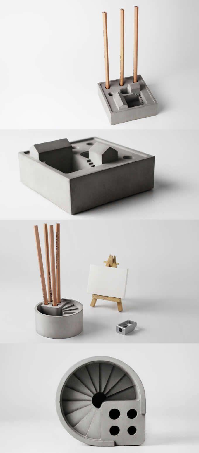 pen & pencil holder stand concrete office desk organizer storage