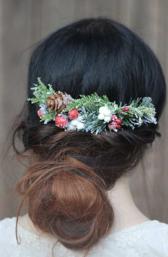 Christmas Hair Comb, Winter Hair Piece, Snowy