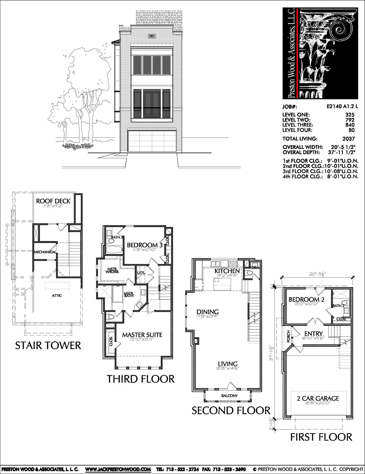 Townhome Plan E2140 A1 2L House Plans in 2019