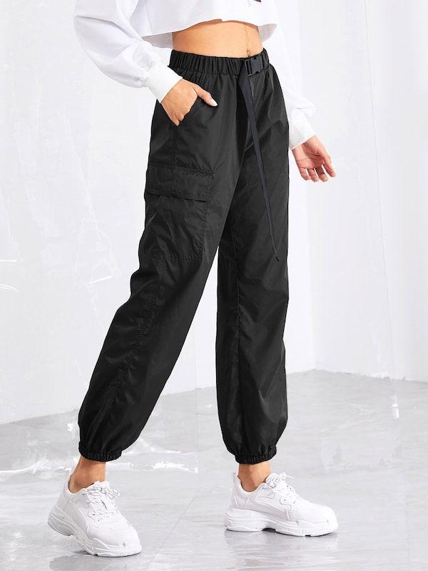 Pantalones Deportivos Con Cintura Ajustable Shein Es Moda De Ropa Ropa De Moda Pantalones De Moda