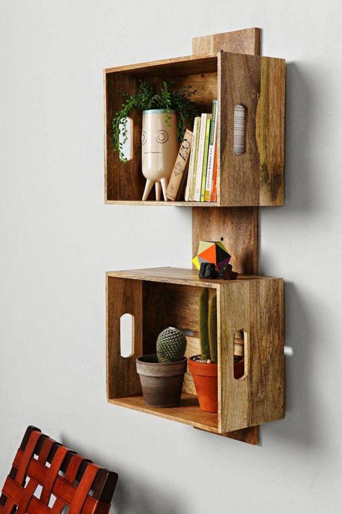 1001 Idees Et Tutos Pour Fabriquer Un Meuble En Cagette Charmant Etagere Palette Deco Caisse En Bois Idees De Decor