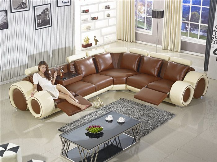 Recliner Sofa New Design Large Size L Shaped Set Italian Leather Corner With Chair Small Table Furniture