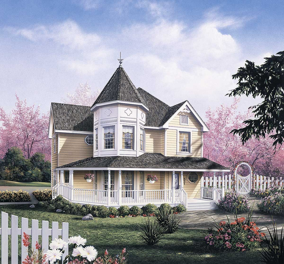 Plan 5742ha Dramatic Layout Created By Victorian Turret Victorian House Plans Country Style House Plans Victorian Homes