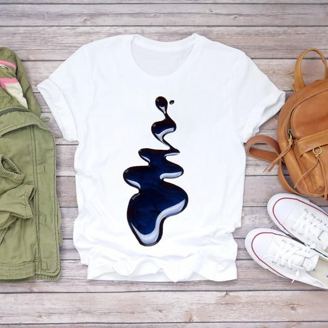 Frauen 2020 Sommer Fingernagel Nail Art Make Up 90er Jahre Damen Lady T-Shirts Top T-Shirt Damen Damen Grafik T-Shirt für Frauen – CZ21353 / M.