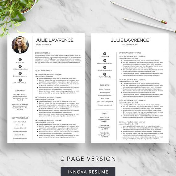 Resume Template with photo | Modern Resume Template for Word | CV ...