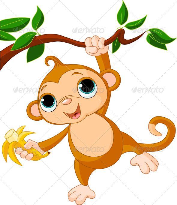Raster Variant. KwikMedia Poster of Greeting Card with Cute Monkey Character Cartoon Monkey Holiday or Birthday Design for Kids Cartoon ape Wild Cheerful Animal
