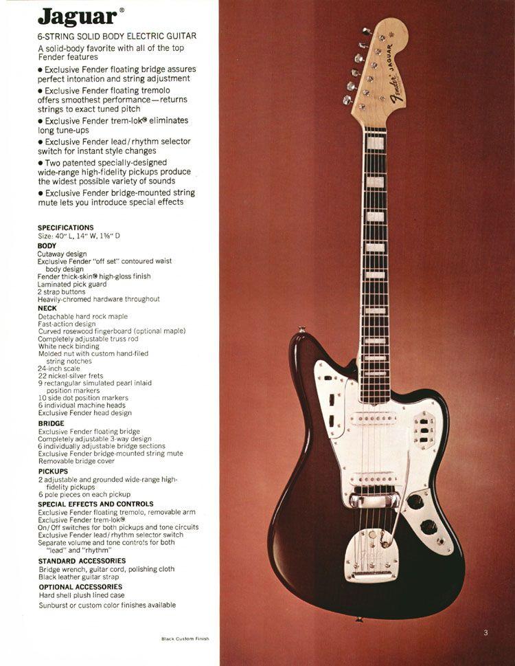 1972 Fender Catalogue Page 5 Fender Jaguar Stratocaster