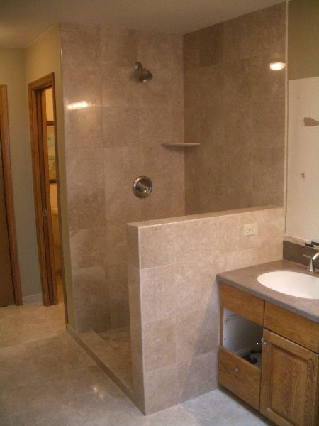 Master Bathroom Showers Without Walls Marble Master