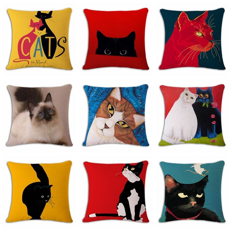 Cat Animal Cushion Cover Funny Kitten Cartoon Art Painting Pillow Case Decor