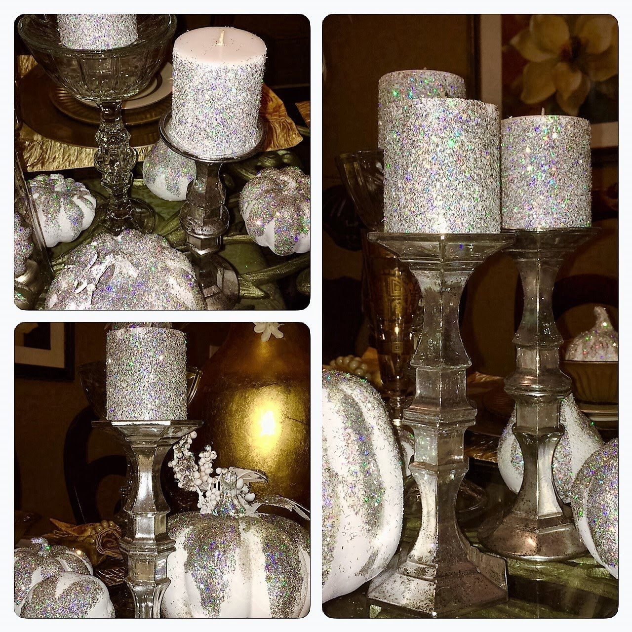 Dollar Tree DIY Faux Mercury Glass Candlestick Holders Z