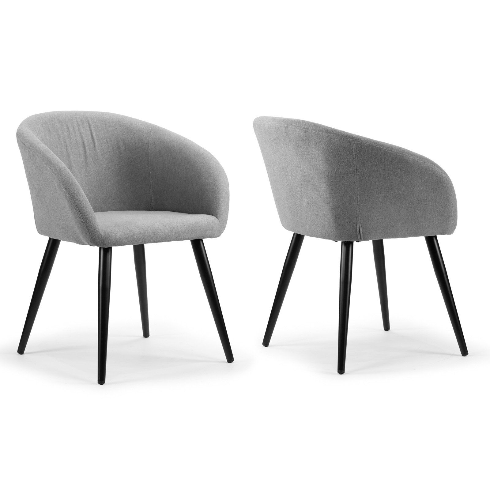 Glamour Home Amma Mid Century Dining Arm Chair Set Of 2 Fabric