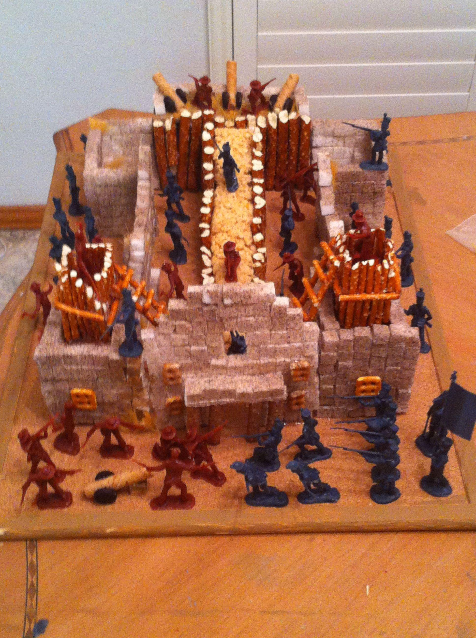 Model Of The Alamo Used Sugar Cubes Pretzels Rice