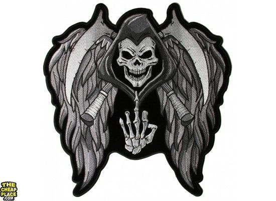 `WINGED SKULL AND CROSS`  SEW OR IRON ON PATCH