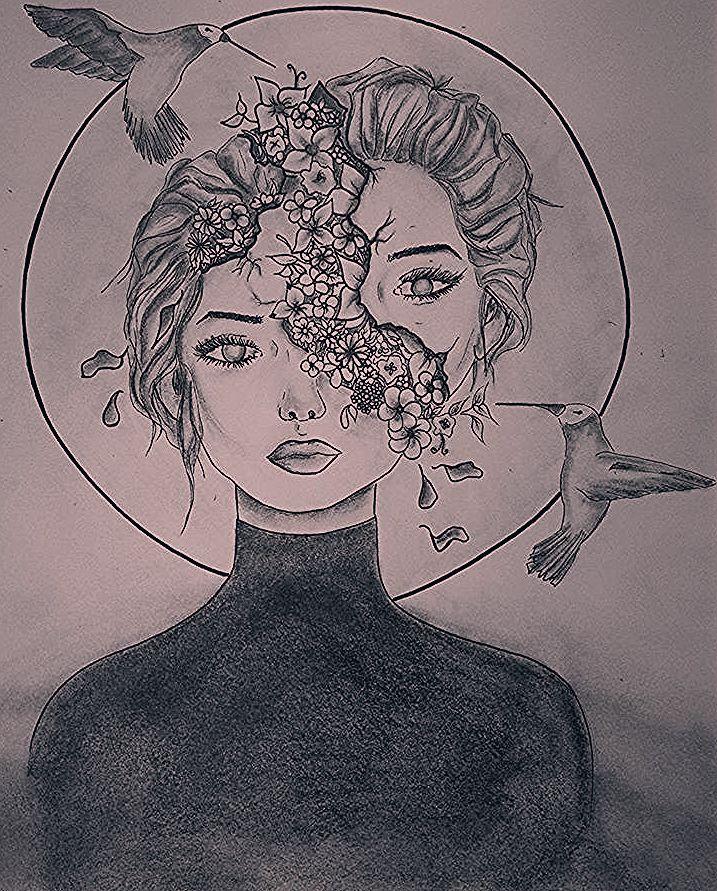 """𝑵𝒂𝒅𝒊𝒏𝒆 𝑷𝒐𝒔𝒄𝒉 auf Instagram: """"#free #Drawing #draw #kunst #art #zeichnen #zeichnung #bleistift #pencil #bleistiftzeichnung #pencildrawing #bird #women #girl #byposch…"""""""