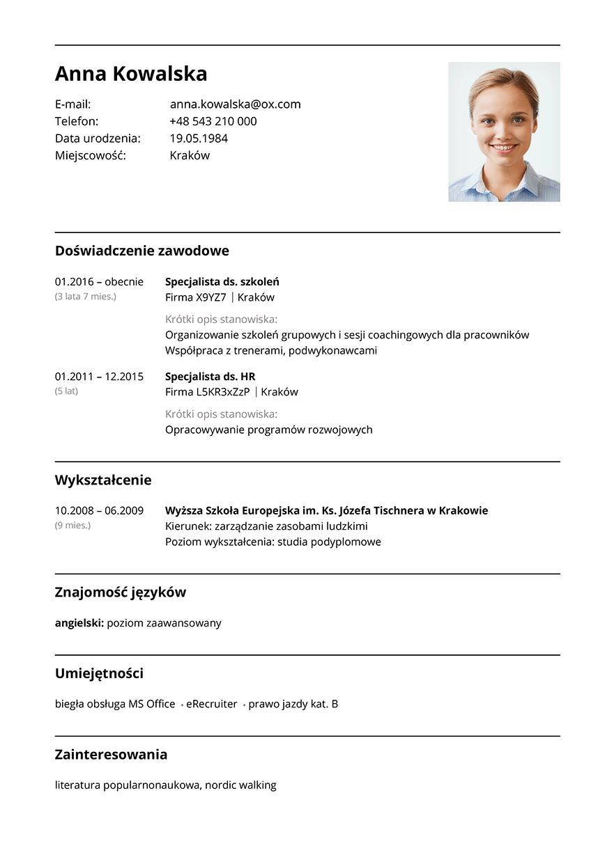 Wzór CV HR Recruitment