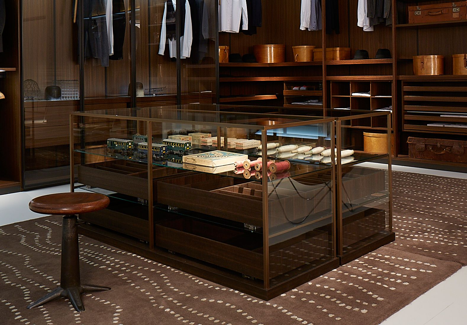 Porro Salone Del Mobile 2014 Acquario Closet Storage Island In Bronze Wood And Glass