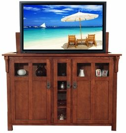 Touchstone Bungalow TV Lift Cabinet In Mission Chestnut