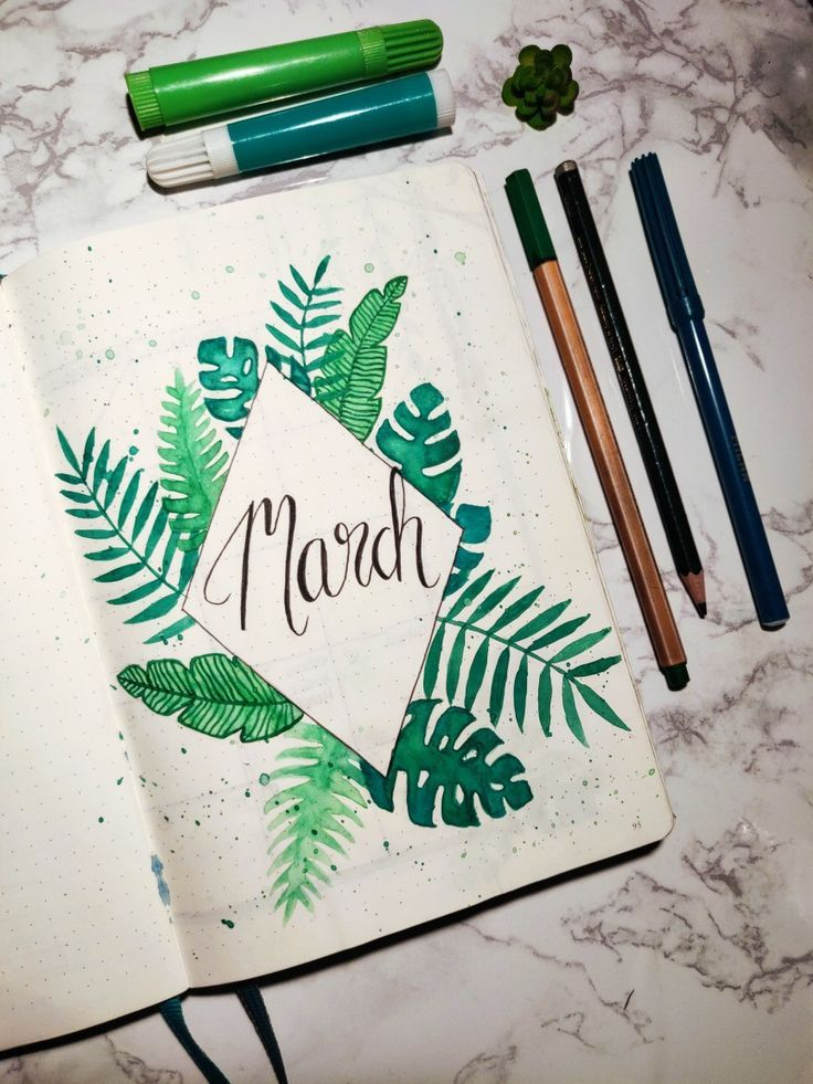 March bullet journal tropical theme cover. Tropical leaves. Bullet journal inspiration #novemberbulletjournalcover