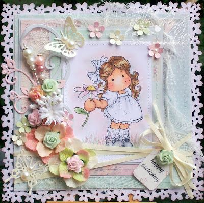 A Sprinkling of Glitter: Pretty Tilda - Addicted To Stamps DT Card
