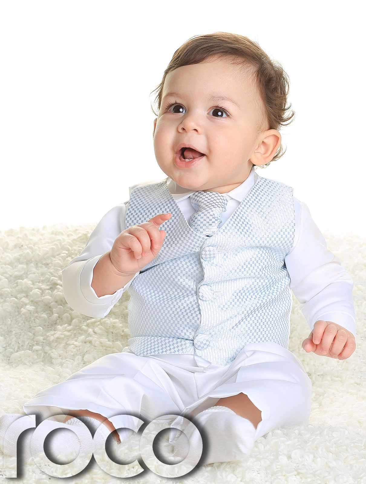 57a3d871b30d6 Baby Boys White and Blue 4pc Wedding Christening Chequered Waistcoat Suit