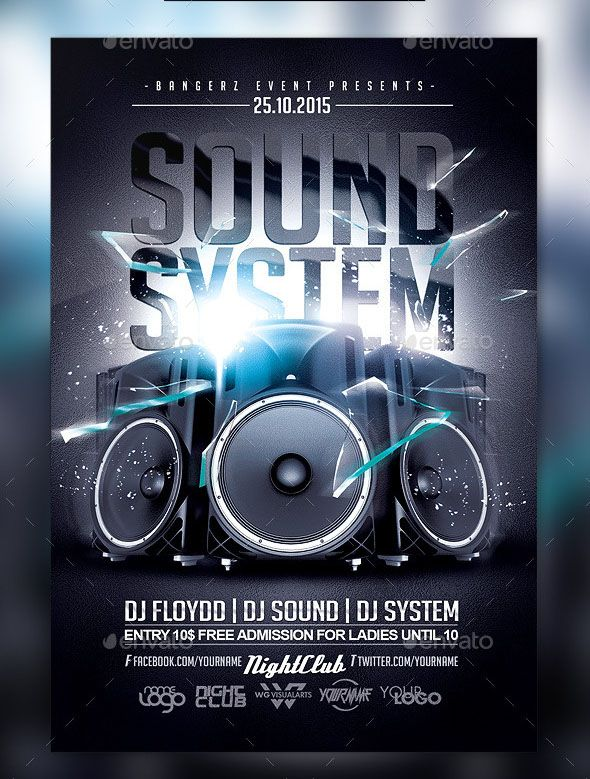 Sound System Bass Flyer Template Big parties are much better than ...
