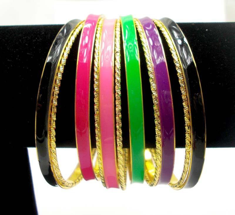 Enamel Fashion Bangle and Bracelets, Wholesale  Multicolor Fashion Bangle Set. 2013 Cool Stuff Bracelets Set for Women $5.55