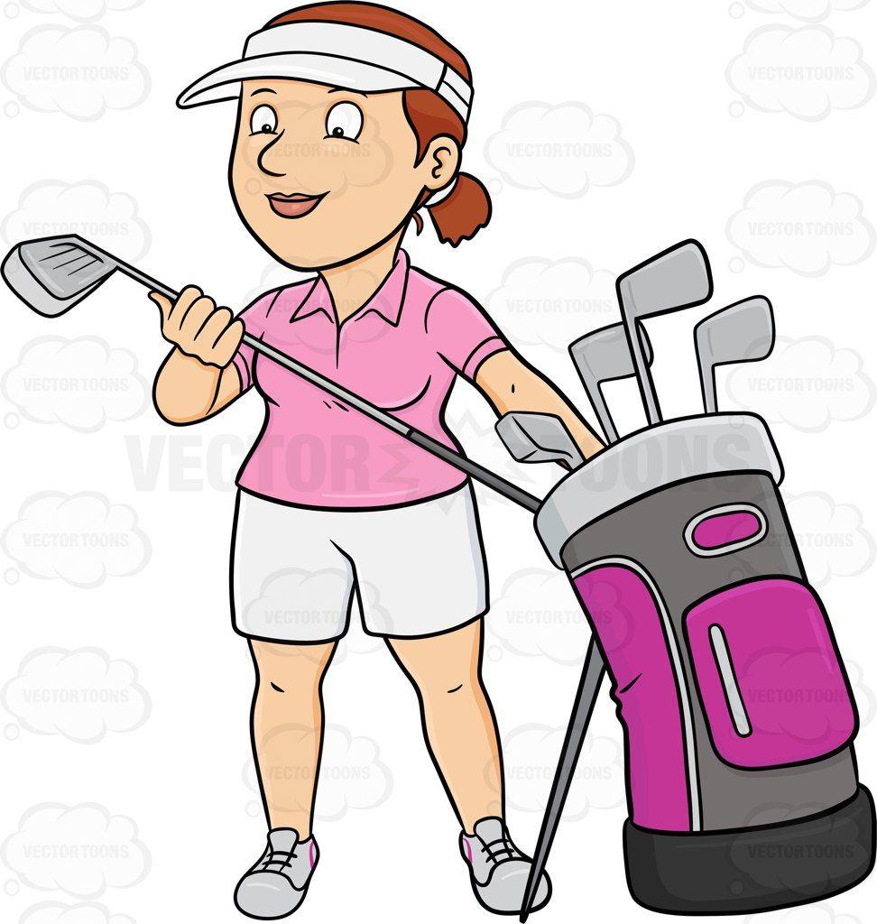 A Female Golfer Inspecting Her Golf Club Ladies Golf Clubs Golf Clubs Best Golf Clubs