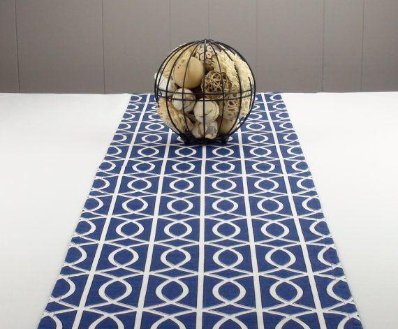 Modern Navy Blue Table Runner, White Table Runner, Blue Tablecloth   Blue  Color,