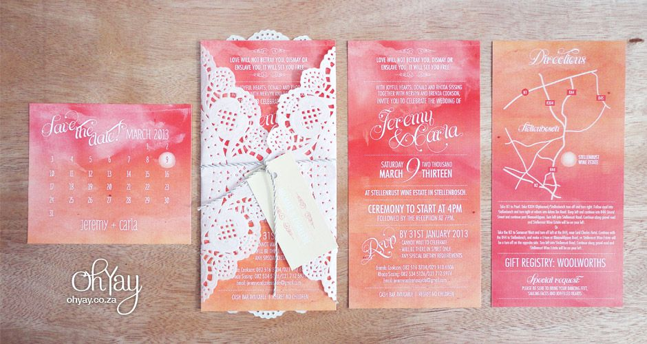 Pretty Pink Tangerine Ombre Invitation From Oh Yay Design