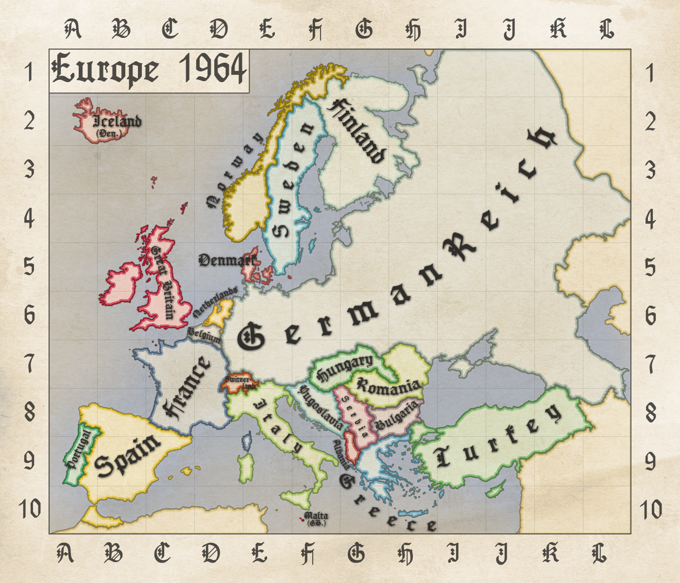 A hypothetical map of Europe in 1964, in case Germany had won World ...