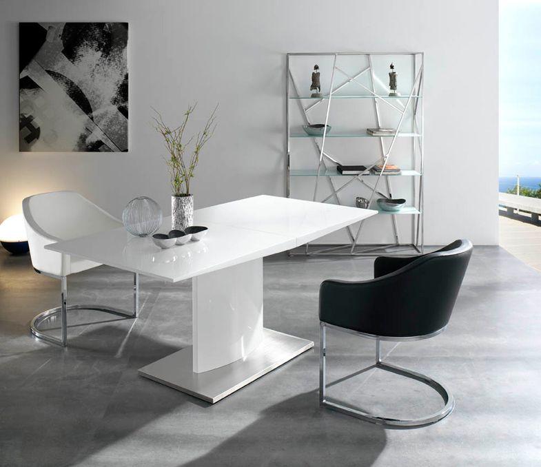 Mesa pata central extensible lacada colores disponibles for Mesa comedor pata central