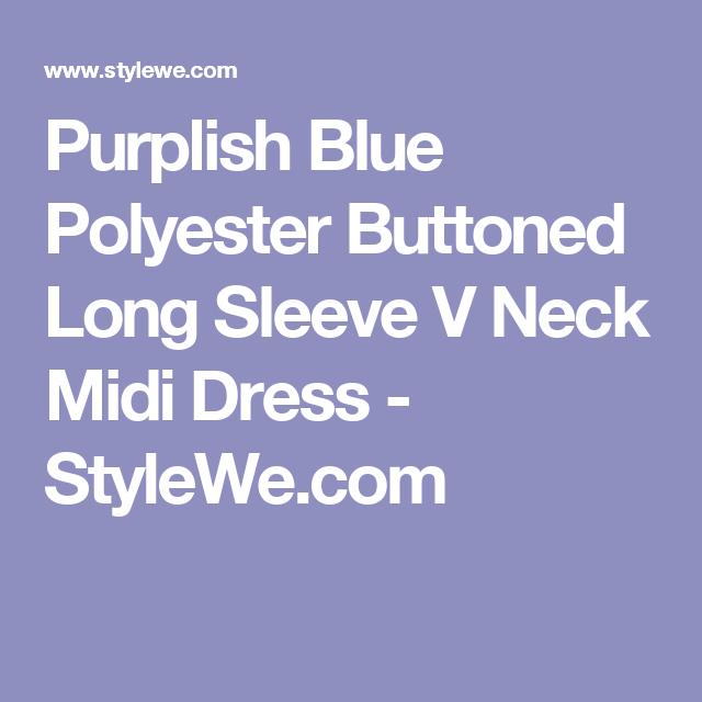 Purplish Blue Polyester Buttoned Long Sleeve V Neck Midi Dress - StyleWe.com