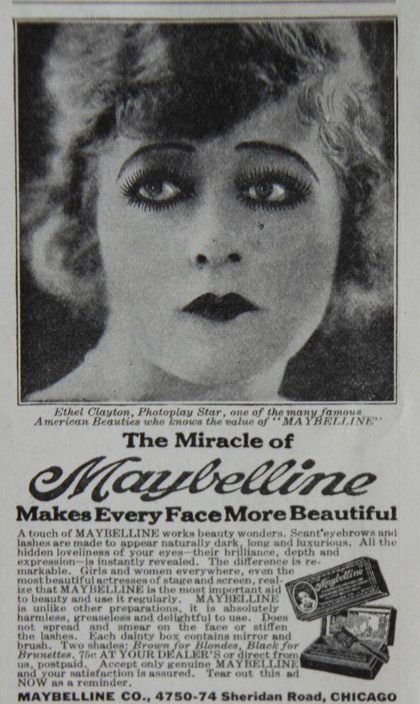 1924 Vintage Maybelline Mascara Make Up Ad Silent Film Star Ethel - 1920s-makeup-ads