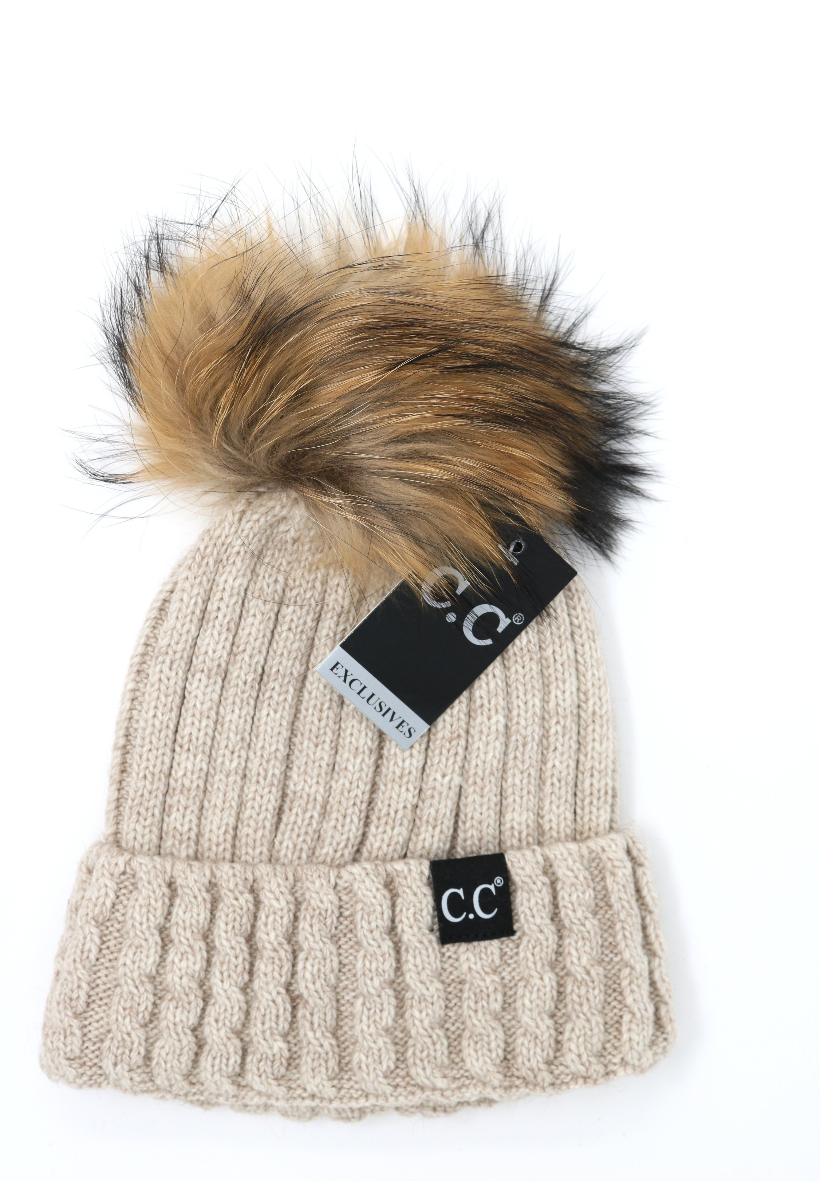 3d5e08b5dd3 CC Exclusive- Black Label Cable Knit Ribbed Matching Fur Pom Beanie ...