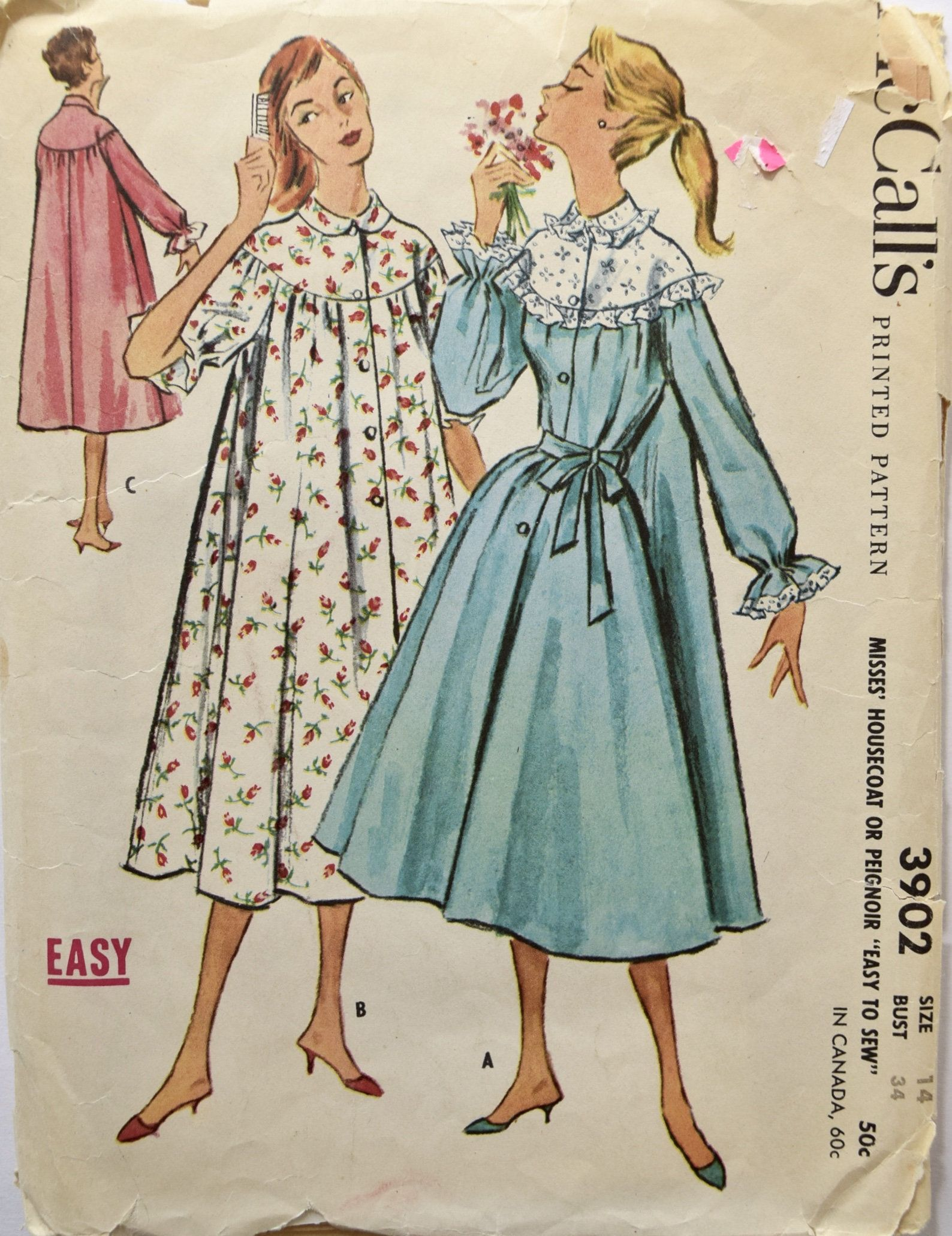 Mccalls 3902 Sewing Pattern 1950s Housecoat Peignoir Pattern Etsy Mccalls Patterns Dress 1950s Dress Patterns Mccalls Sewing Patterns
