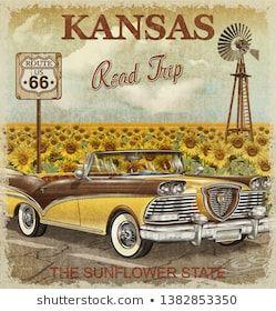 Ilustración de stock sobre Vintage Kansas Road Trip Poster 1382853350
