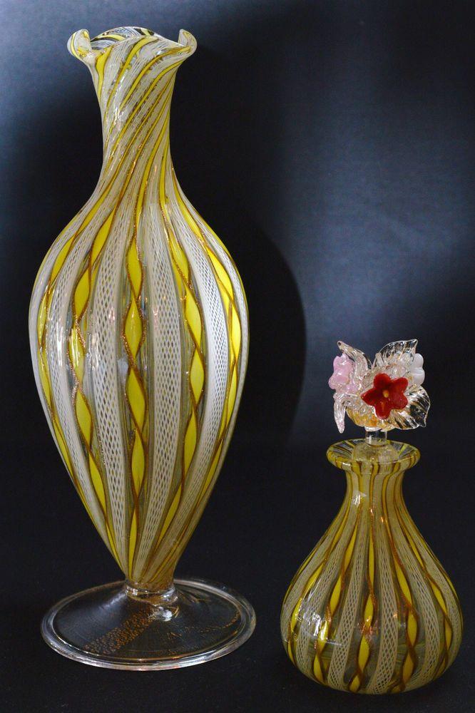 Vintage Murano Italian Swirl Latticino Ribbon Glass Perfume Bottle Vase 1120 Vasos