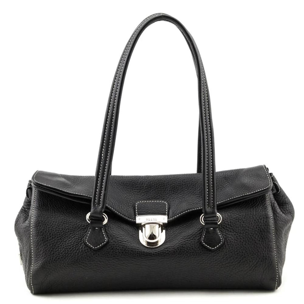 Prada Black Leather Foldover Push Lock Shoulder Bag Bags