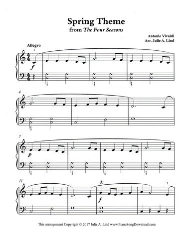 Spring Vivaldi The Four Seasons Simplified Piano Sheet Music To