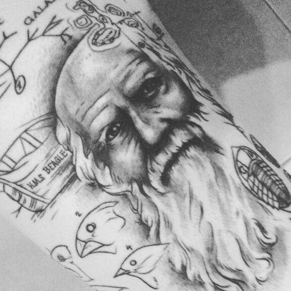 Charles Darwin Evolution Tattoo Features His Portrait His